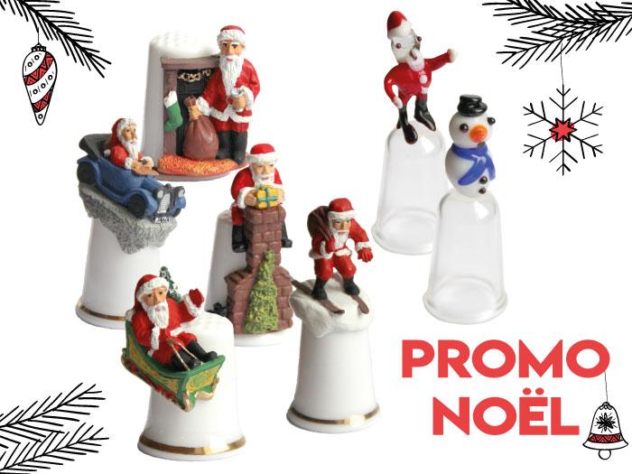 Promotion sur les dés en porcelaine Pere-Noel et dé en verre Noël