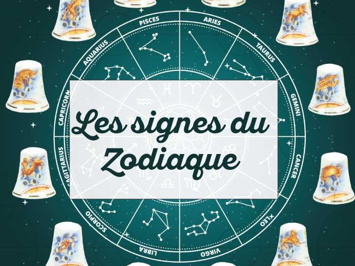 Les 12 signes du zodiaque sur un dé à coudre